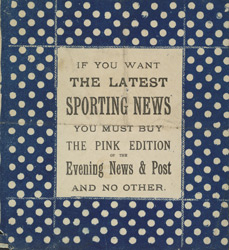 Advert for the sports section of 'The Evening News & Post', newspaper